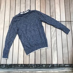 Express   Blue/White Knit Long Sleeve Sweater